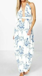 NWT White Blue Halter Maxi Dress US Size 4